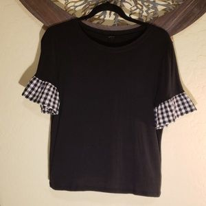 Black Top w/ Gingham Bell Sleeves